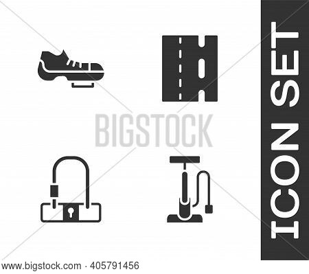 Set Bicycle Air Pump, Shoes, Lock And Lane Icon. Vector