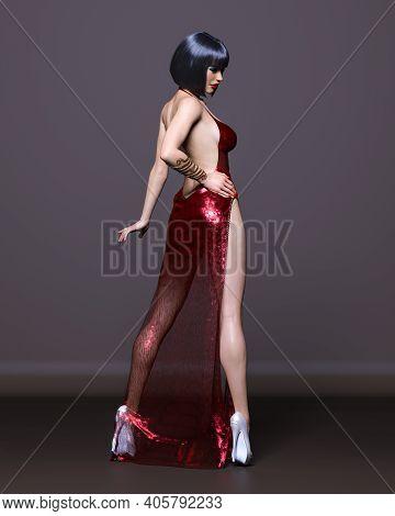 Beautiful Brunette Woman In Long Evening Dress.