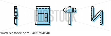 Set Line Sledgehammer, Chisel Tool For Wood, Cement Bag And Folding Ruler Icon. Vector