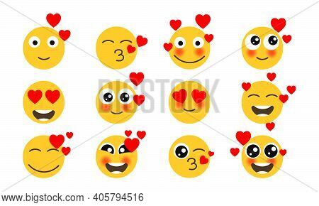 Eyes Love Set Emoticons Yellow Face. Vector Collection Fun Yellow Loving Humor Mood With Hearts. Car