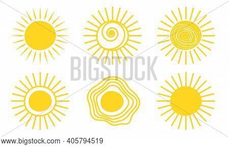 Yellow Doodle Sunshine Logo Icon Sun. Warm Star Drawing Set. Hot Sun Doodle Summer Scribble Hand Dra