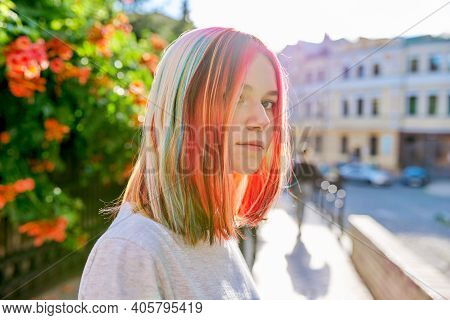 Hairstyles, Hairs, Fashion, Trends, Coloring. Close-up Of Teenager Girls Head With Multi-colored Dye