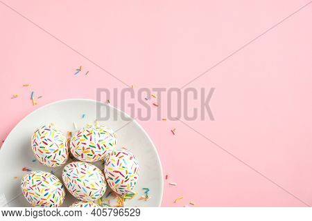 Colorful Easter Eggs In Plate On Pastel Pink Background. Happy Easter Concept. Flat Lay, Top View, C