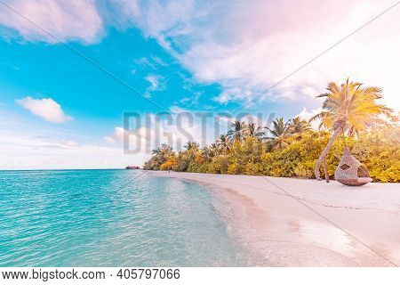 Landscape Of Paradise Tropical Island Beach, Sunrise Sunset View. Exotic Scenery, Palm Trees, Soft S