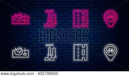 Set Line Bicycle Air Pump, Lane, On Street Ramp And Location With Bicycle. Glowing Neon Icon On Bric