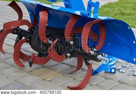 Cultivator Knives Close Up, Agricultural Machinery Shop Sell, Rotary Cultivator For Two Wheeled Trac