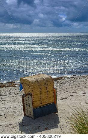 Beach With Beach Chair On Fehmarn,baltic Sea,schleswig-holstein,germany