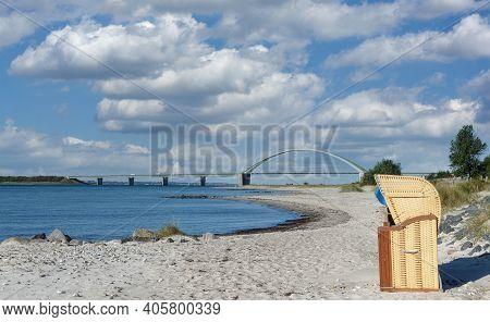 Beach Near Fehmarnsund Bridge On Fehmarn At Baltic Sea,schleswig-holstein,germany