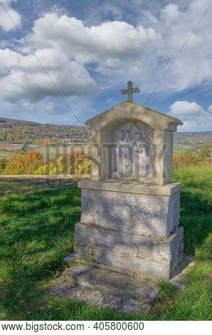 Waysde Shrine In Idyllic Autumn Landscape In Rhoen,germany