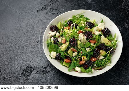 Blackberry Salad With Greens, Almond Nuts, Feta, Avocado And Feta Cheese
