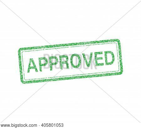Green Approved Stamp. Abstract Web Template With Green Approved On White Background. Isolated Vector