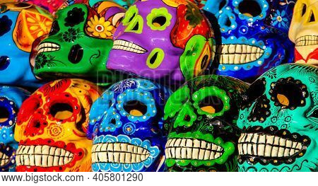 Cabo San Lucas, Mexico - August 8, 2014: Calacas, Wooden Skull Day Of The Dead Masks On Market In Ca