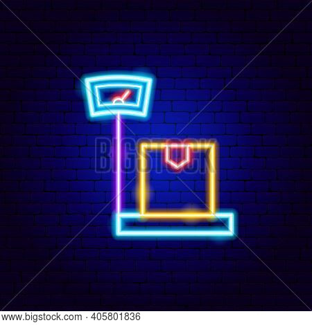 Weighing Scales Neon Sign. Vector Illustration Of Box Promotion.