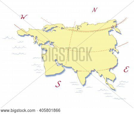 Eurasia Continent Map, Europe, Asia. View From The North Side. Vector Illustration