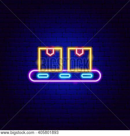 Conveyer Belt Neon Sign. Vector Illustration Of Box Promotion.