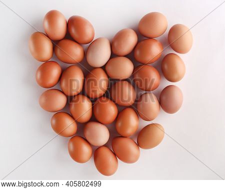 Brown Fresh Chicken Eggs Like A Headt . Closeup Natural Organic Egg Pattern. Healthy Real Food. Top