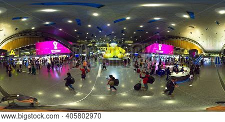 Doha, Qatar -february 19, 2020 Passengers On Metro With Transfer In Terminal At The Hamad Internatio