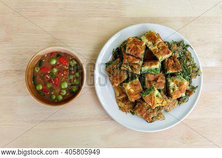 Thai Traditional Local Food : Spicy Shrimp Paste Dip Or Fried Shrimp Paste Sauce (nam Prik Kapi) Wit