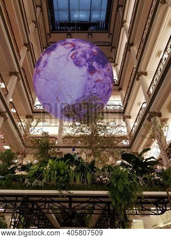 Chicago, Il April 1, 2019, Giant Moon Globe Underneath The Great Atrium At Journey To Paradisios Flo