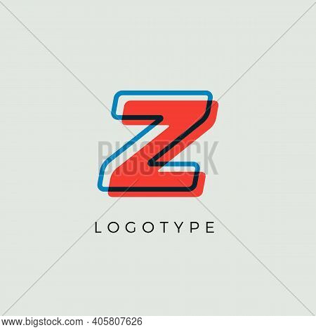 Stunning Letter Z With 3d Color Contour, Minimalist Letter Graphic For Modern Comic Book Logo, Carto