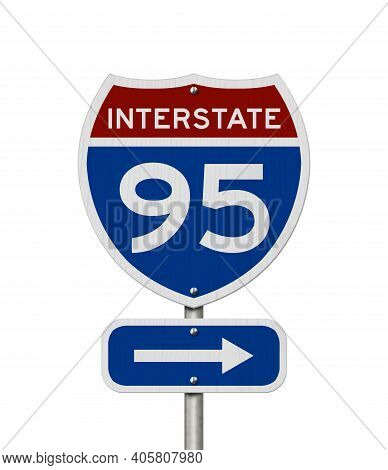 I-95 Interstate Usa Red And Blue Highway Road Sign Isolated Over White 3d Illustration