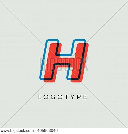 Stunning Letter H With 3d Color Contour, Minimalist Letter Graphic For Modern Comic Book Logo, Carto