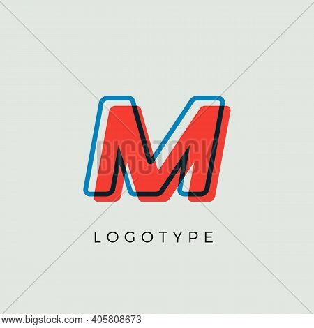 Stunning Letter M With 3d Color Contour, Minimalist Letter Graphic For Modern Comic Book Logo, Carto