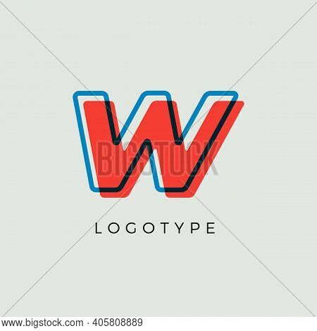 Stunning Letter W With 3d Color Contour, Minimalist Letter Graphic For Modern Comic Book Logo, Carto