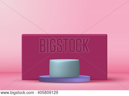 3d Rendering With Podium Minimal Pink Pastel Scene, Minimal Stand Pedestal Background For Show Cosme