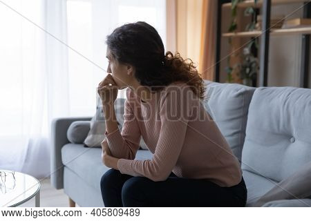 Puzzled Unhappy Young Woman Feeling Doubtful About Important Decision.