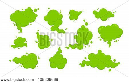 Smelling Green Cartoon Smoke Or Fart Clouds Flat Style Design Vector Illustration. Bad Stink Or Toxi