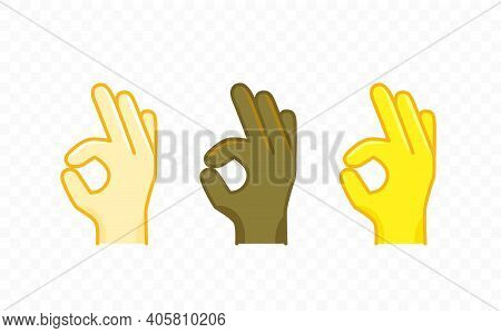 Different Color Hand Gesture Comic Style Vector Icon. Okay