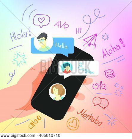 Human Gesture Using Modern Smartphone. Say Hallo шт Different Languages..