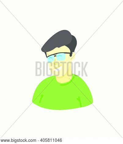 Sketchy Style Artistic Character. Man With Glasses