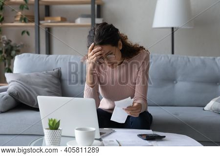 Unhappy Young Woman Feeling Stressed Of Lack Of Money.