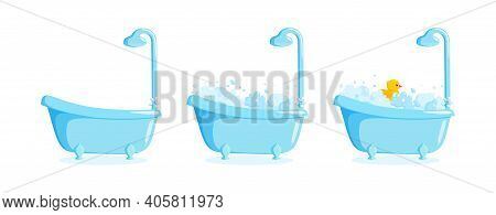 Bathtub With Suds And Rubber Duck And Shower. Clawfoot Tub Set With Duck, Bubbles And Foam. Vector I