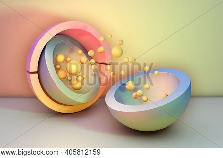 Geometric shapes background with pastel colors. 3D illustration.