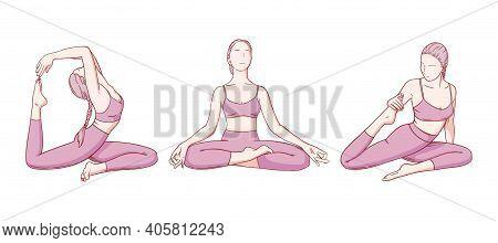 Woman Practicing Yoga. Flexibility Improving Yoga Poses. Hand Drawn Sketch Vector Illustration Isola