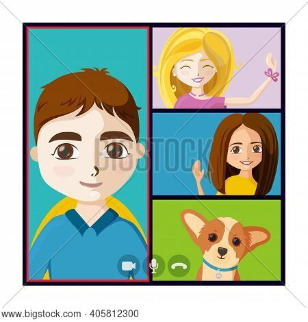 Virtual Hangout With People And Puppy. Online Quarantine Meet Of Friends Or Colleagues. Vector Illus