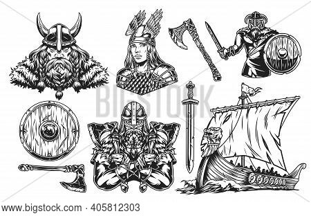 Vikings Vintage Elements Set In Monochrome Style With Bearded Scandinavian Warriors Beautiful Valkyr