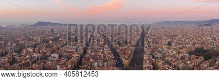 Pano Aerial Drone Shot Of Barcelona City Center Before Sunrise In Winter