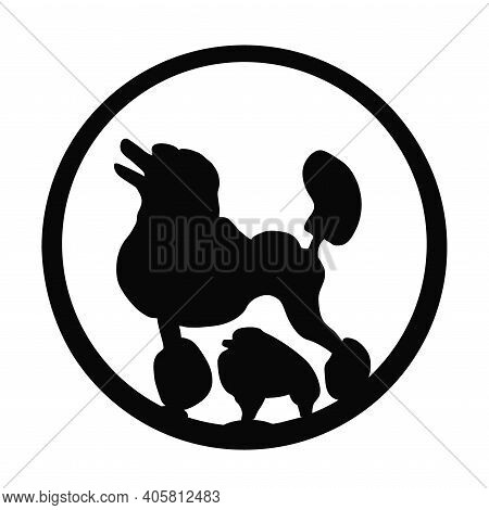 Spitz, Poodle Dogs In Black Round Isolated