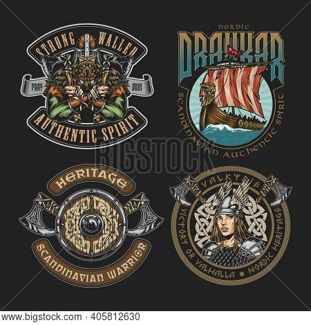 Colorful Viking Vintage Badges With Inscriptions Pretty Valkyrie In Winged Helmet Strong Nordic Warr