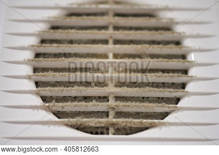 Extremely Dirty Air Ventilation Grill Of Hvac With Dusty Clogged Filter, Close Up. Cleaning And Disi