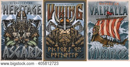 Vikings Vintage Colorful Posters With Strong Bearded Nordic Warriors And Drakkar Ship Sailing On Sto