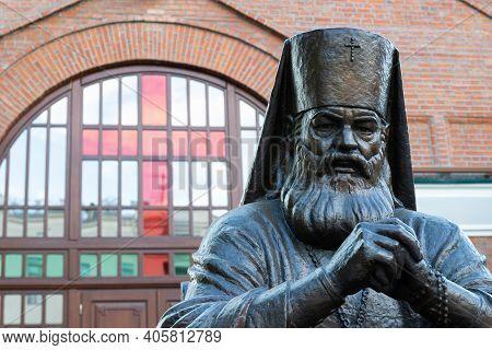 Krasnoyarsk, Russia - May 11, 2020: Monument To Archbishop Luka Voyno-yasenetsky Before The Entrance