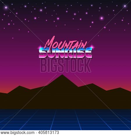 Colorful Simple Vector Illustration In Retro Futurism Style Of 1980s Of Mountains Landscape Under Mo