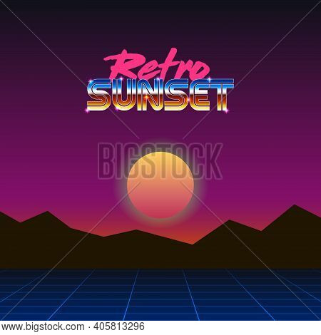 Colorful Simple Vector Illustration In Retro Futurism Style Of 1980s Of Mountains Landscape Under Ev