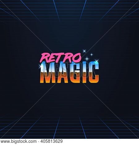Colorful Simple Vector Illustration In Retro Futurism Style Of 1980s Of Headline Signboard Text Retr