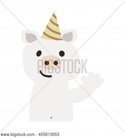 Cute Pig With Party Hat - Waving - Flat Cartoony Vector Isolated